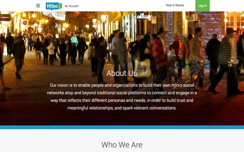 Screenshot of About Page hibe.com - About Us- Hibe - captured Sept. 30, 2014