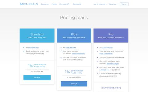 Screenshot of Pricing Page gocardless.com - Pricing - GoCardless - captured Feb. 13, 2017