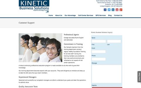 Screenshot of Support Page kineticbusinesssolutions.com - Customer Support - Kinetic Business Solutions - captured Sept. 30, 2014