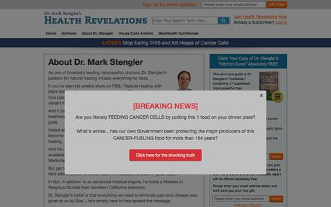Screenshot of About Page healthrevelations.com - About Dr. Mark Stengler - Dr. Mark Stengler's Health Revelations - captured Sept. 22, 2018