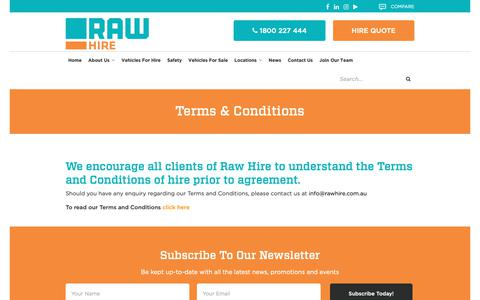 Screenshot of Terms Page rawhire.com.au - Terms & Conditions | Raw Hire - captured Dec. 11, 2018