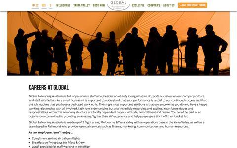 Screenshot of Jobs Page globalballooning.com.au - Global Ballooning Australia :: Careers at Global - captured July 19, 2018