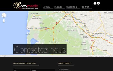 Screenshot of Contact Page topymedia.com - Contact | Topymedia  - Agence de communication digitale - captured Oct. 1, 2014