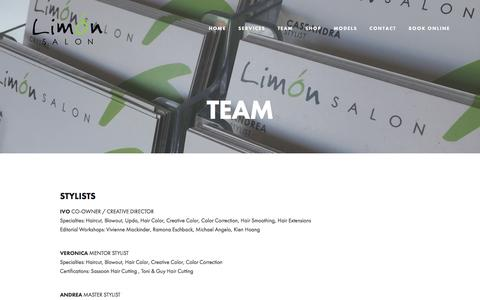 Screenshot of Team Page limonsalon.com - TEAM — Limon Salon - captured July 14, 2016