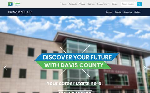 Screenshot of Jobs Page daviscountyutah.gov - DC | HR - Home - captured Sept. 24, 2018