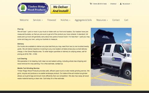 Screenshot of Services Page timberridgewoodproducts.com - Services | Timber Ridge Wood Products | Your Local Landscape SupplierTimber Ridge Wood Products - captured Aug. 4, 2015