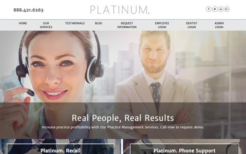 Screenshot of Home Page platinumrecall.com - Dental Recall and Dental Practice Management Services - captured July 19, 2018