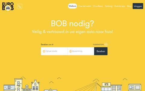 Screenshot of Home Page eurobob.nl - Euro BOB - Chauffeursdiensten - Veilig & vertrouwd in uw eigen auto naar huis - captured Nov. 5, 2018