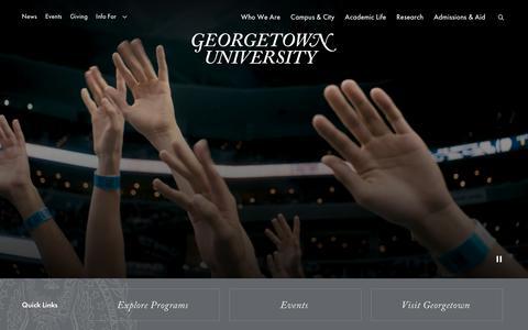 Screenshot of Home Page georgetown.edu - Georgetown University in Washington DC - captured Oct. 9, 2019