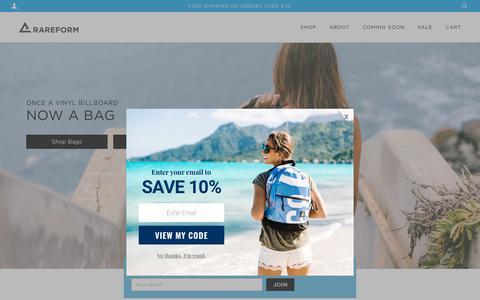 Screenshot of Home Page rareform.com - Rareform: As Seen on SHARK TANK - Repurposed backpacks and bags – RAREFORM - captured Sept. 21, 2018