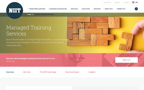 Screenshot of Services Page niit.com - Managed Training Services, Managed Learning Services - NIIT - captured Oct. 27, 2018