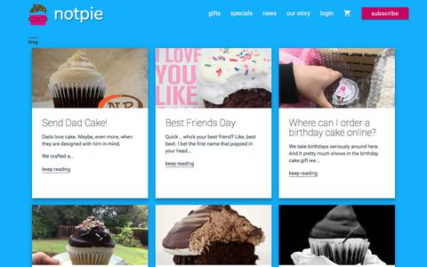 Screenshot of Blog Press Page notpie.com - Celebrating people nationwide with gourmet cupcakes | NotPie Cakery - captured June 14, 2017