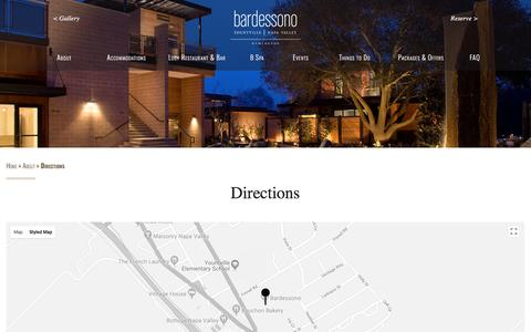 Screenshot of Maps & Directions Page bardessono.com - Directions to Luxury Hotel Bardessono in Yountville Napa Valley - captured April 14, 2018