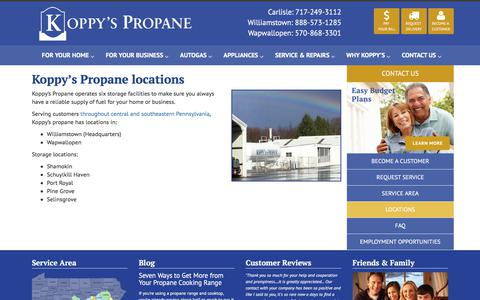 Screenshot of Locations Page koppyspropane.com - Locations - Koppy's Propane - captured Oct. 17, 2017