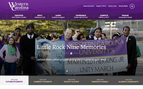 Screenshot of Home Page wcu.edu - Western Carolina University - Home Title - captured Jan. 19, 2016