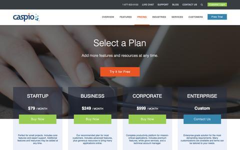Screenshot of Pricing Page caspio.com - Caspio Pricing | Review and Compare Plans - Caspio - captured March 30, 2016