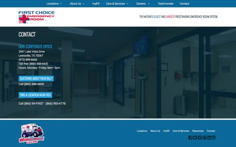 Screenshot of Contact Page fcer.com - Contact : First Choice Emergency Room - captured June 16, 2015