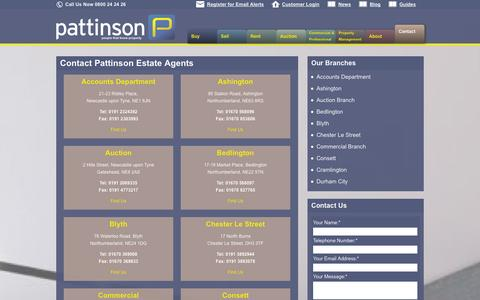 Screenshot of Contact Page pattinson.co.uk - Contact Pattinson Estate Agents | Pattinson Estate Agents - captured Sept. 25, 2014