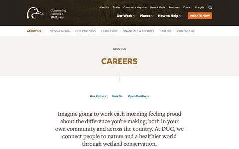 Screenshot of Jobs Page ducks.ca - Careers — Ducks Unlimited Canada - captured Nov. 14, 2018