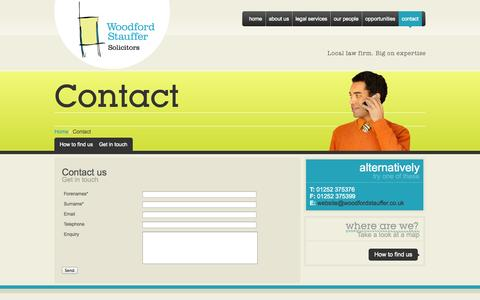 Screenshot of Contact Page woodfordstauffer.co.uk - Woodford Stauffer Solicitors - Contact - captured Oct. 26, 2014