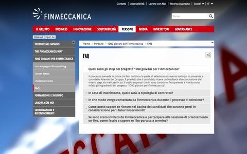 Screenshot of FAQ Page finmeccanica.com - FAQ - 1000 giovani - finmeccanica - captured Sept. 23, 2014
