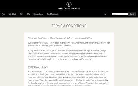 Screenshot of Terms Page germaine-de-capuccini.co.uk - Terms & Conditions - Germaine de Capuccini - captured July 29, 2017