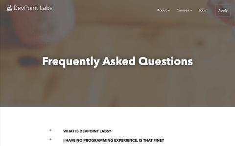 Screenshot of FAQ Page devpointlabs.com captured Aug. 6, 2018