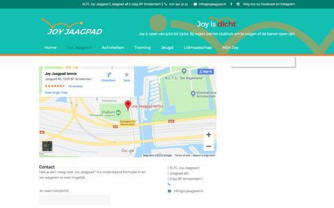 Screenshot of Contact Page joyjaagpad.nl - Contact – Tennisvereniging Joy Jaagpad - captured Oct. 2, 2018