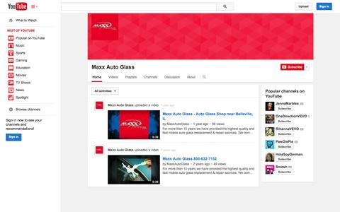 Screenshot of YouTube Page youtube.com - Maxx Auto Glass  - YouTube - captured Oct. 27, 2014