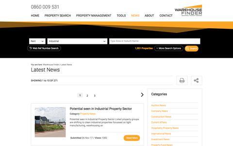 Screenshot of Press Page warehousefinder.co.za - Latest News  | Warehouse Finder - captured Sept. 23, 2018