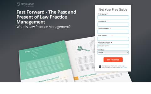 Screenshot of Landing Page mycase.com - Fast Forward - The Past and Present of Law Practice Management :: MyCase Legal Resources - captured March 1, 2018