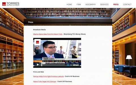 Screenshot of Press Page torresvlg.com - Press | TVLG - captured Oct. 7, 2014