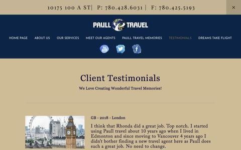 Screenshot of Testimonials Page paulltravel.com - TESTIMONIALS — PAULL TRAVEL - captured July 16, 2018