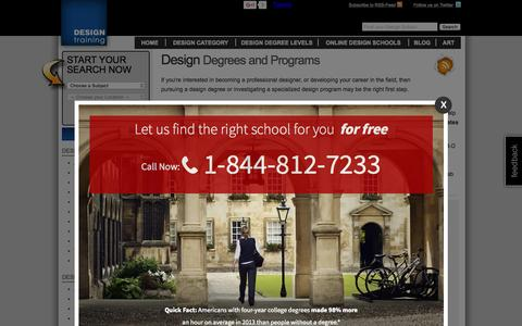 Screenshot of Home Page design-training.com - Art & Design Degrees from Design Schools and Online Colleges - captured Sept. 16, 2015