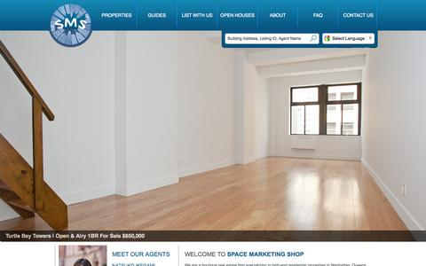 Screenshot of Home Page space-ms.com - Real Estate Apartment Sales & Rentals in Manhattan-Space Marketing Shop - captured Oct. 6, 2014