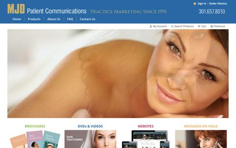 Screenshot of Products Page mjdpc.com - MJD Patient Communications - captured Sept. 30, 2017
