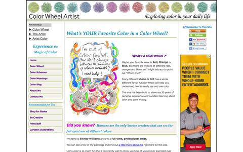 Screenshot of Home Page color-wheel-artist.com - Color Wheel Artist, Color Theory, Tips, Palettes and Art - captured Sept. 23, 2014