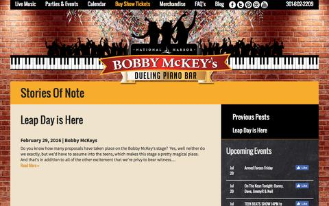 Screenshot of Blog bobbymckeys.com - Bobby Mckey's Dueling Piano Bar - captured July 29, 2016