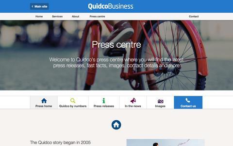 Screenshot of Press Page quidco.com - Press centre | Quidco Business - captured July 8, 2016