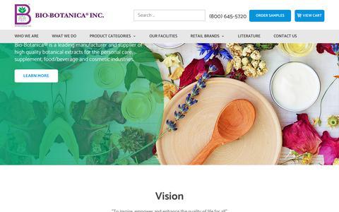 Screenshot of Home Page bio-botanica.com - Bio Botanica - Manufacturer and Supplier of Botanical Extracts - captured Oct. 10, 2017