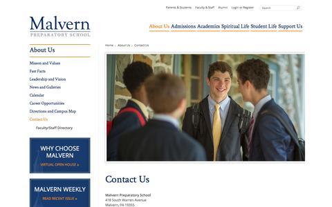 Screenshot of Contact Page malvernprep.org - About - Contact Us - Malvern Preparatory School - captured Feb. 4, 2016