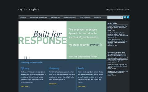 Screenshot of Home Page taylorenglish.com - Taylor English - The purpose-built law firm, Atlanta, GA. - captured Oct. 9, 2014