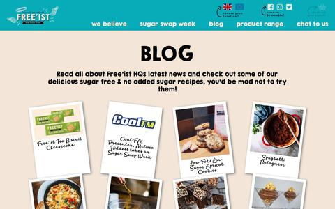 Screenshot of Blog freeist.co.uk - Blog |Sugar Free Snacks | Sugar Free Recipes | Free'ist - captured Aug. 27, 2018