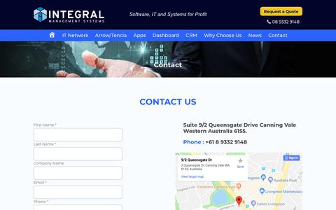 Screenshot of Contact Page integral-mgt.com.au - Contact details of Integral Management Systems   Integral mgt - captured Oct. 4, 2018