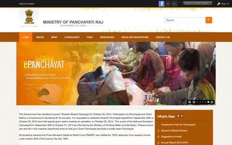 Screenshot of Home Page panchayat.gov.in - Ministry of Panchayati Raj , Govertment of India - NPP - captured Sept. 19, 2014