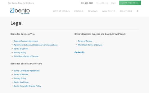 Screenshot of Terms Page bentoforbusiness.com - Legal - Business Prepaid Cards for Employee Expenses - Bento for Business - captured Aug. 17, 2018