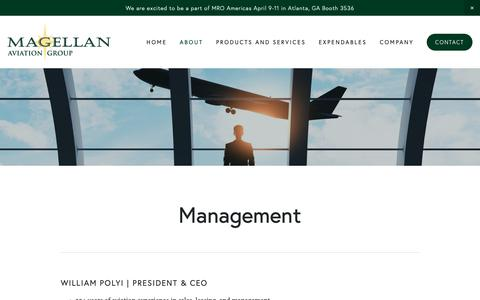 Screenshot of Team Page magellangroup.net - Management — Magellan Aviation Group - captured April 16, 2019