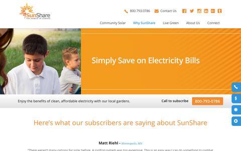 Screenshot of Testimonials Page mysunshare.com - SunShare and Community Solar Gardens | Solar Farm - captured Dec. 3, 2016