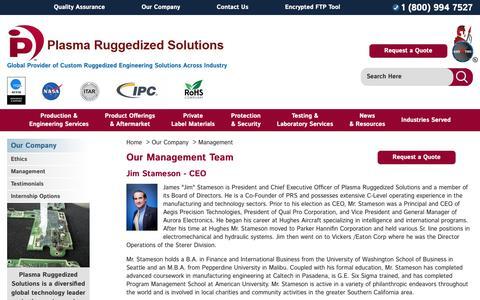 Screenshot of Team Page plasmarugged.com - Our Management Team - captured Sept. 28, 2018