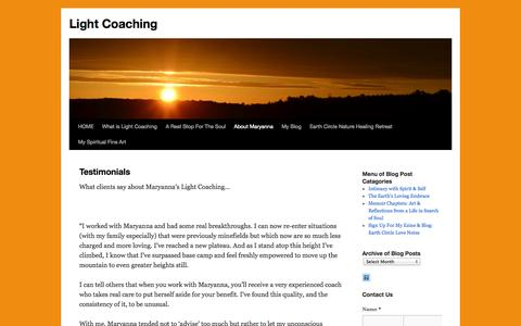 Screenshot of Testimonials Page lightcoach.com - Testimonials for Maryanna Bock as a coach and counselor, Bath, ME | Light Coaching - captured Oct. 2, 2014
